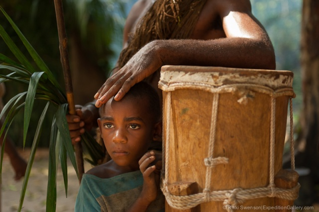 Bagyeli boy at village visit outside of Kribi, Cameroon, AFRICA, 2012