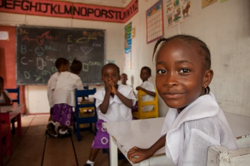 Children in classroom at Obaa's School, Monrovia, Liberia. [NO MODEL RELEASE]