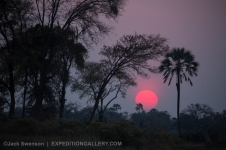 Red sun going down in the Okavango Delta.
